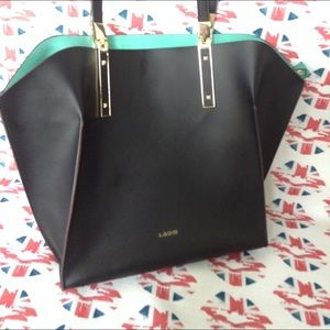 Lodis Brenn black/teal leather tote